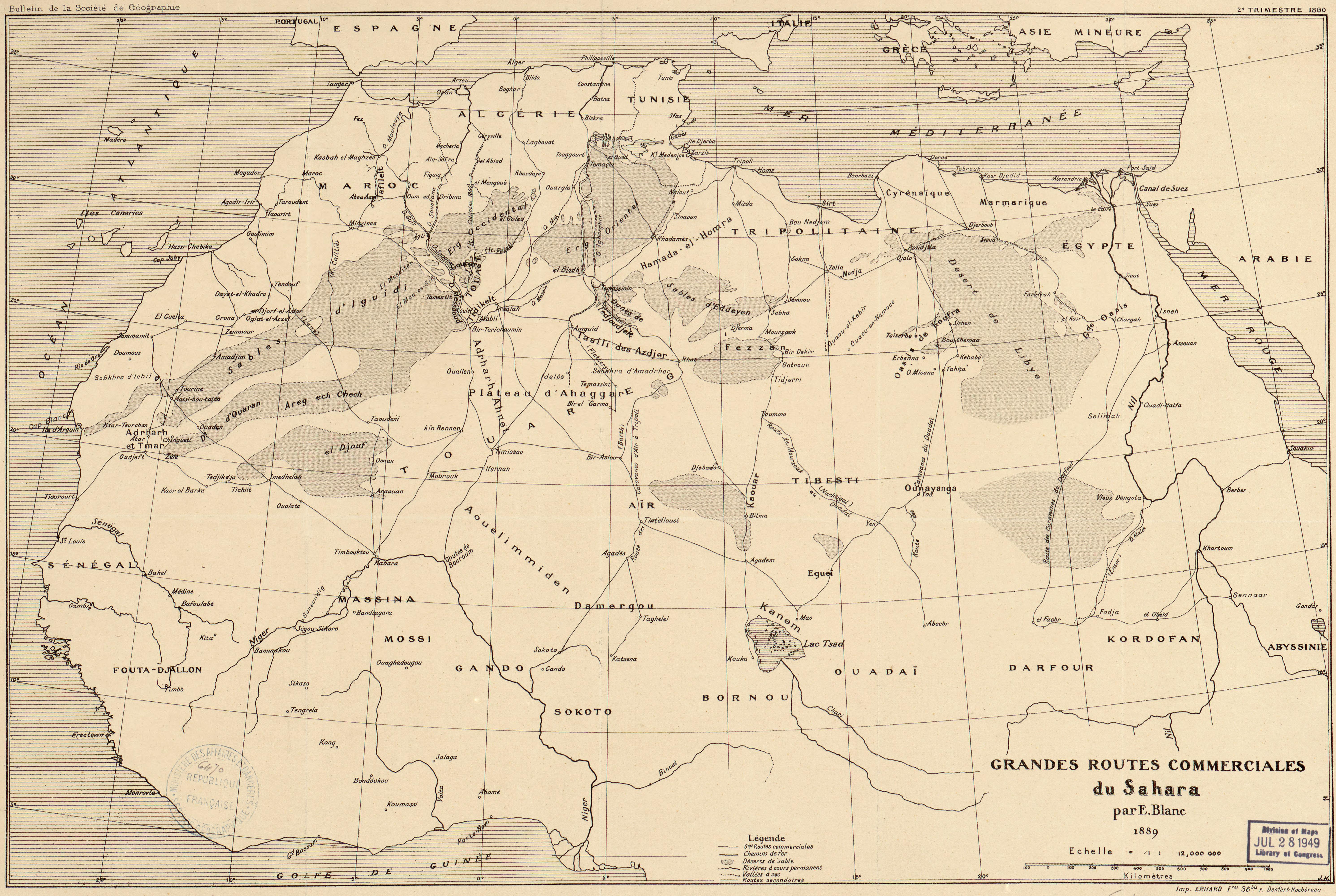 Bulletin de la Société de Géographie - Grandes routes commerciales du Sahara - par E. Blanc - 1889 - Echelle = 1 : 12,000 000 - Imp. Erhard Fres. 35bis r. Denfert-Rochéreau