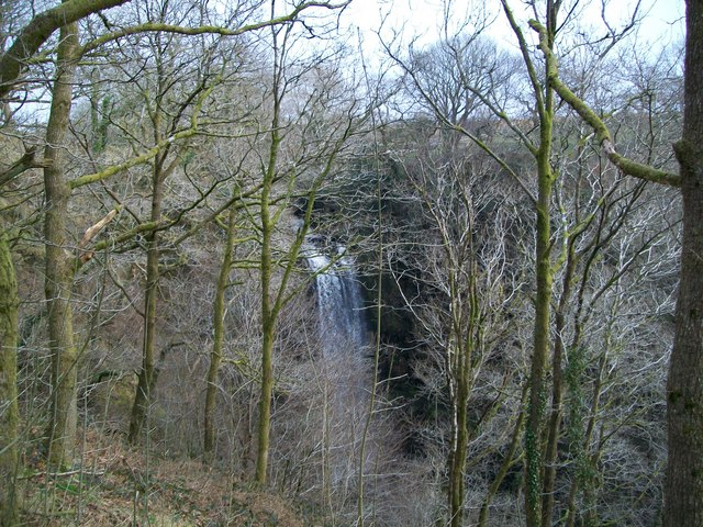 Henrhyd Falls from the path down from the car park - geograph.org.uk - 1459586