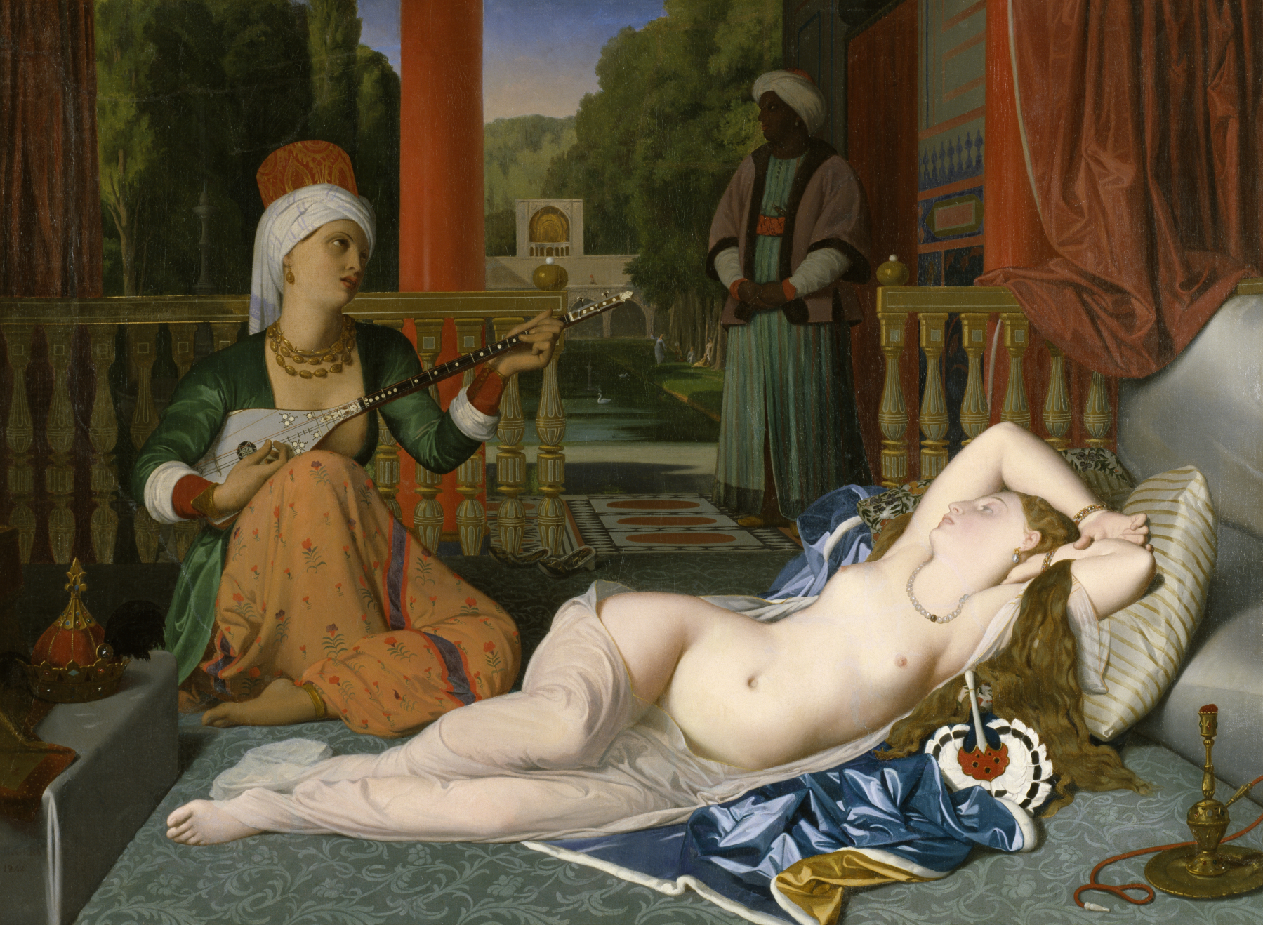 The female slave in the harem naked scene