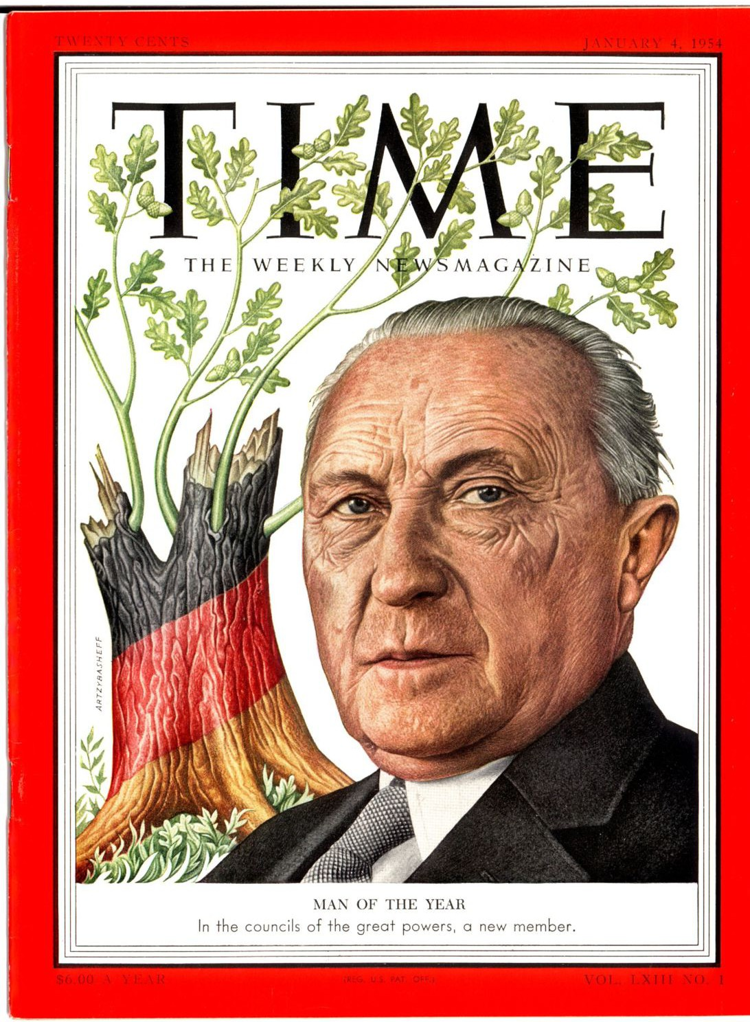 "Known as one of the ""Founding Fathers of Post-War Europe"", German statesman Konrad Adenauer has been lauded by commentators for his idealistic vision of both his nation and that of the broader continent. Konrad-Adenauer-TIME-1954.jpg"