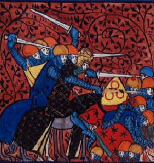 A 14th century depiction of a war between Charlemagne and the Saxons