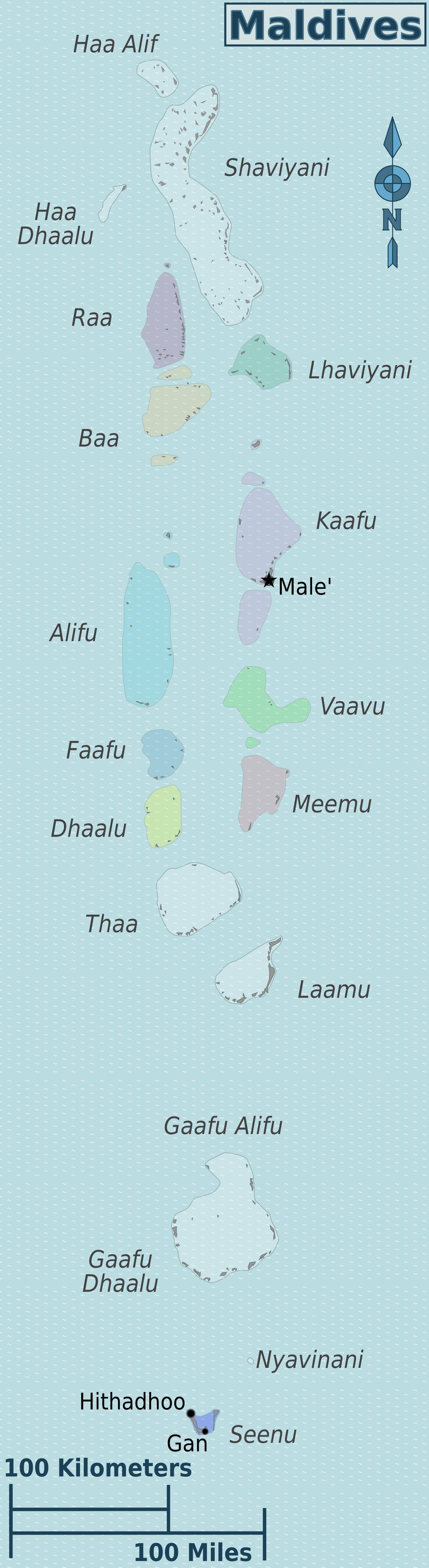 Мальдивы атоллы на карте