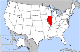 Mapa ning United States with Illinois highlighted