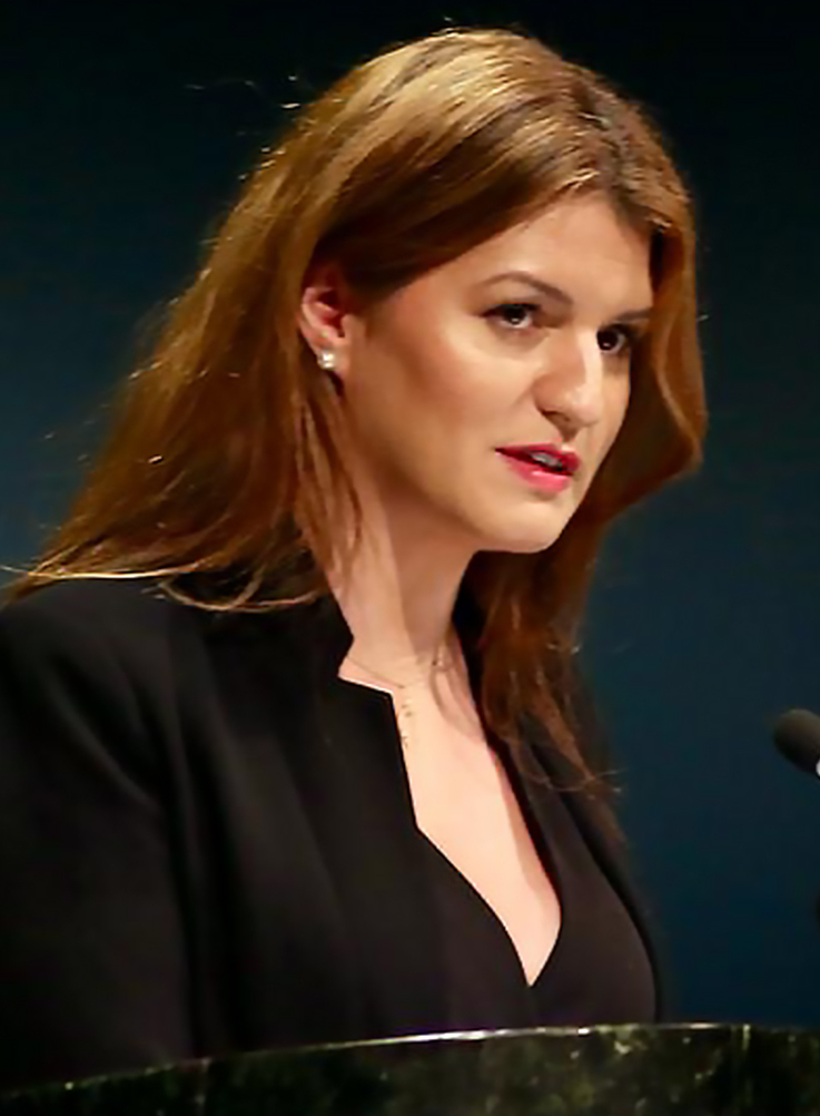 Schiappa speaking at the [[U.N]]<br>during the 63rd session of the [[United Nations Commission on the Status of Women|Commission on the Status of Women]]<br>11 March 2019