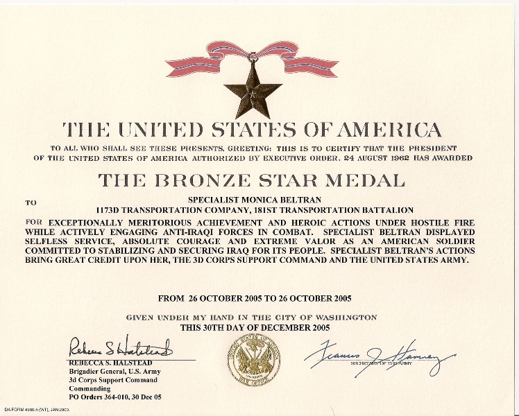 Monica Beltran%27s Bronze Star Medal with Valor certificate.jpg