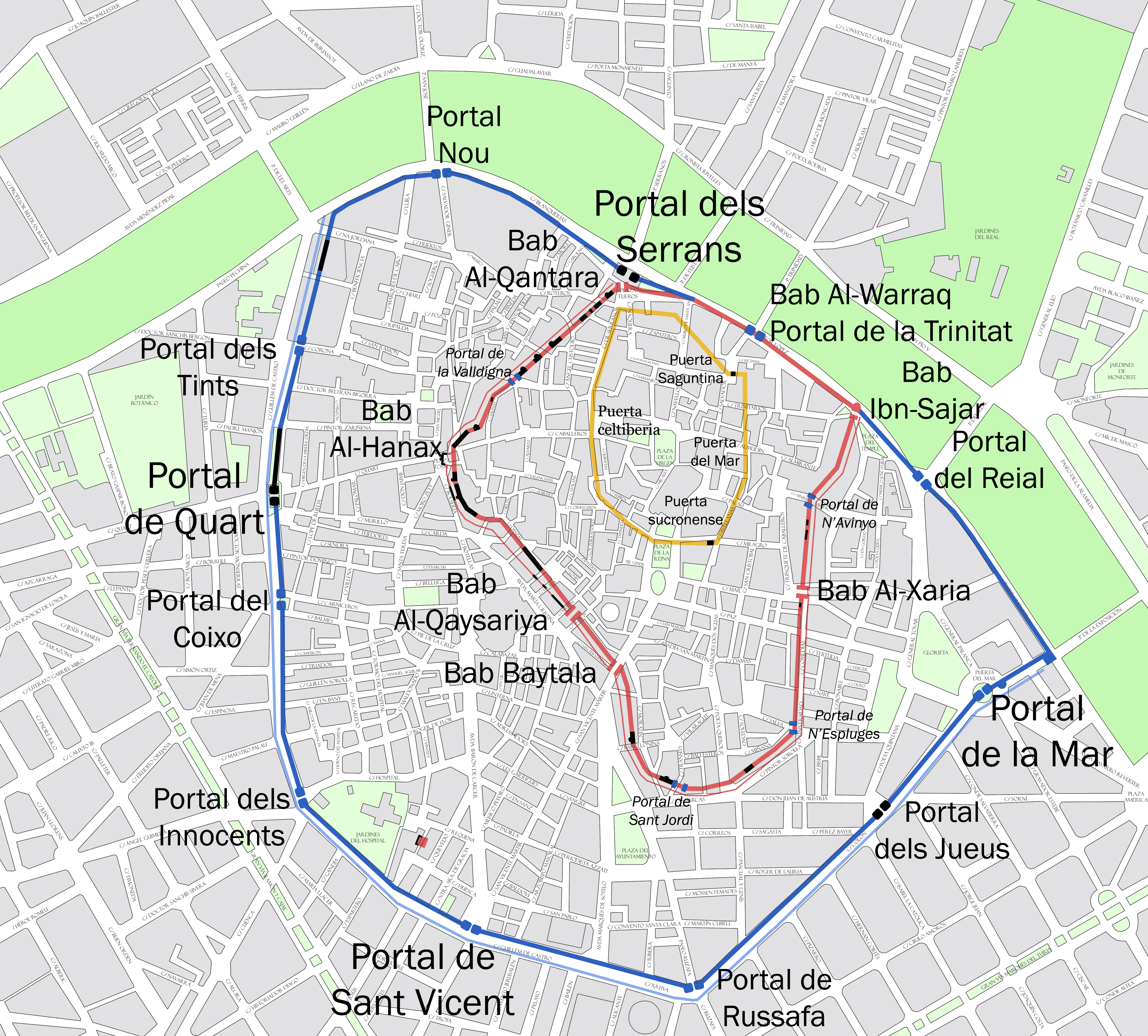 Mapa Zona Azul Valencia.Muralla Medieval De Valencia Wikipedia La Enciclopedia Libre