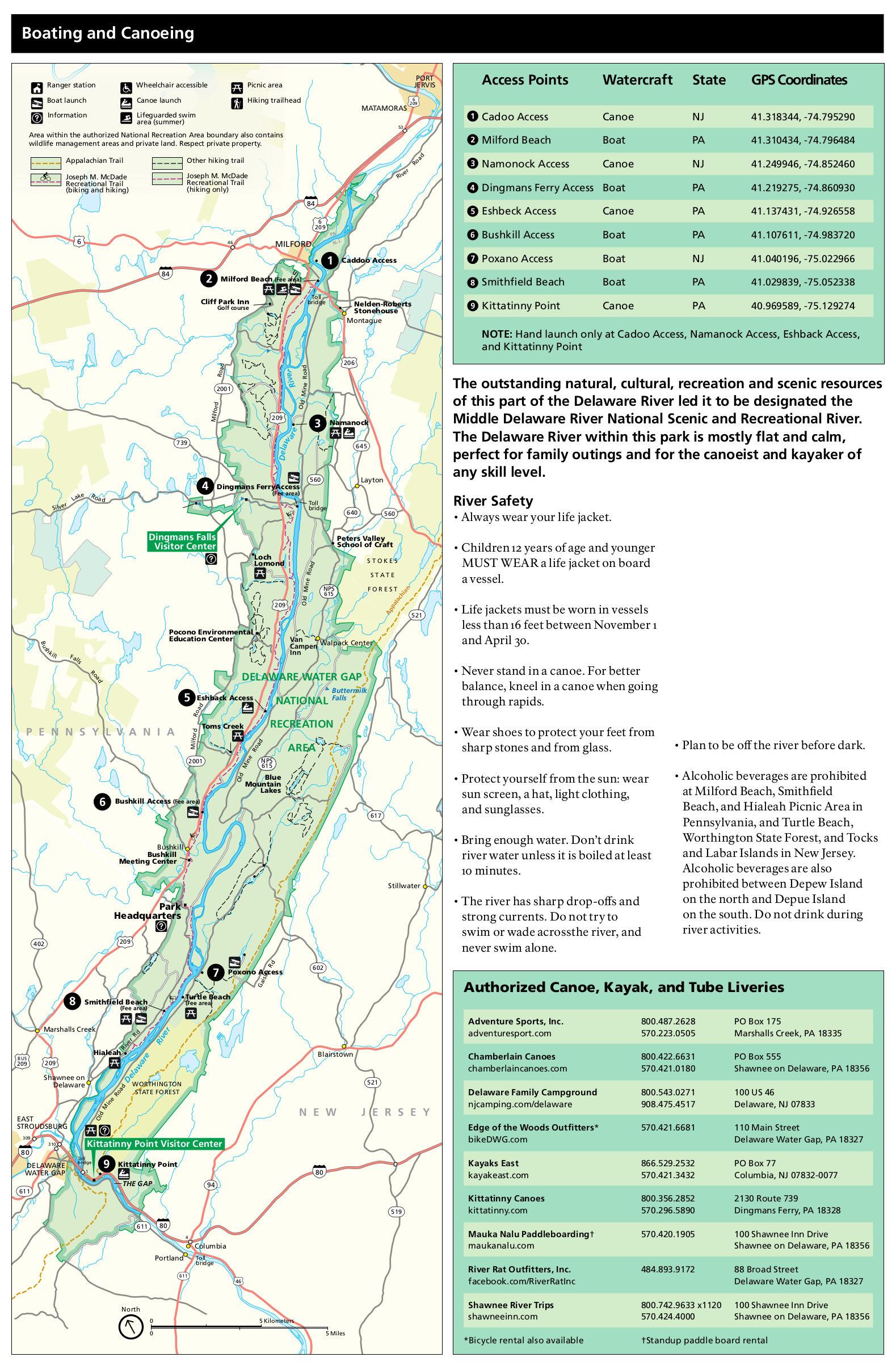 map delaware water gap File Nps Delaware Water Gap Boating Map Jpg Wikimedia Commons map delaware water gap