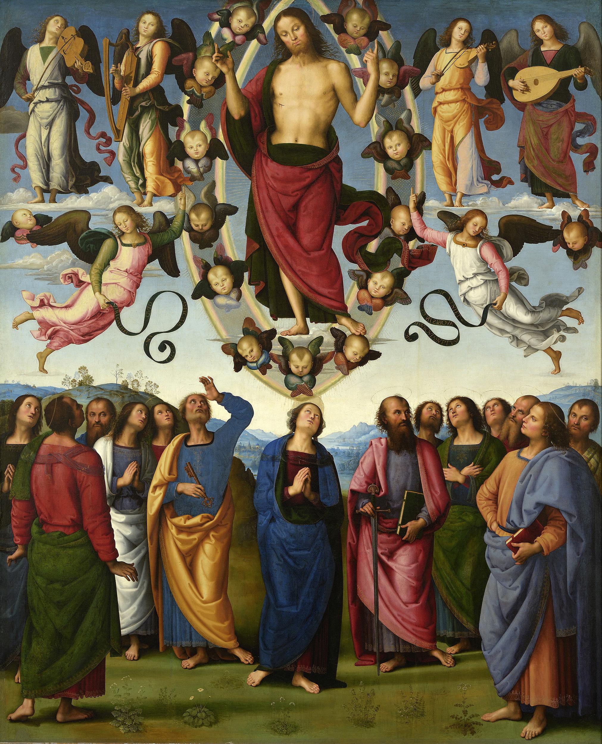 Pietro Perugino, San Pietro Polyptych, 1496–1500, Christ's Ascension.