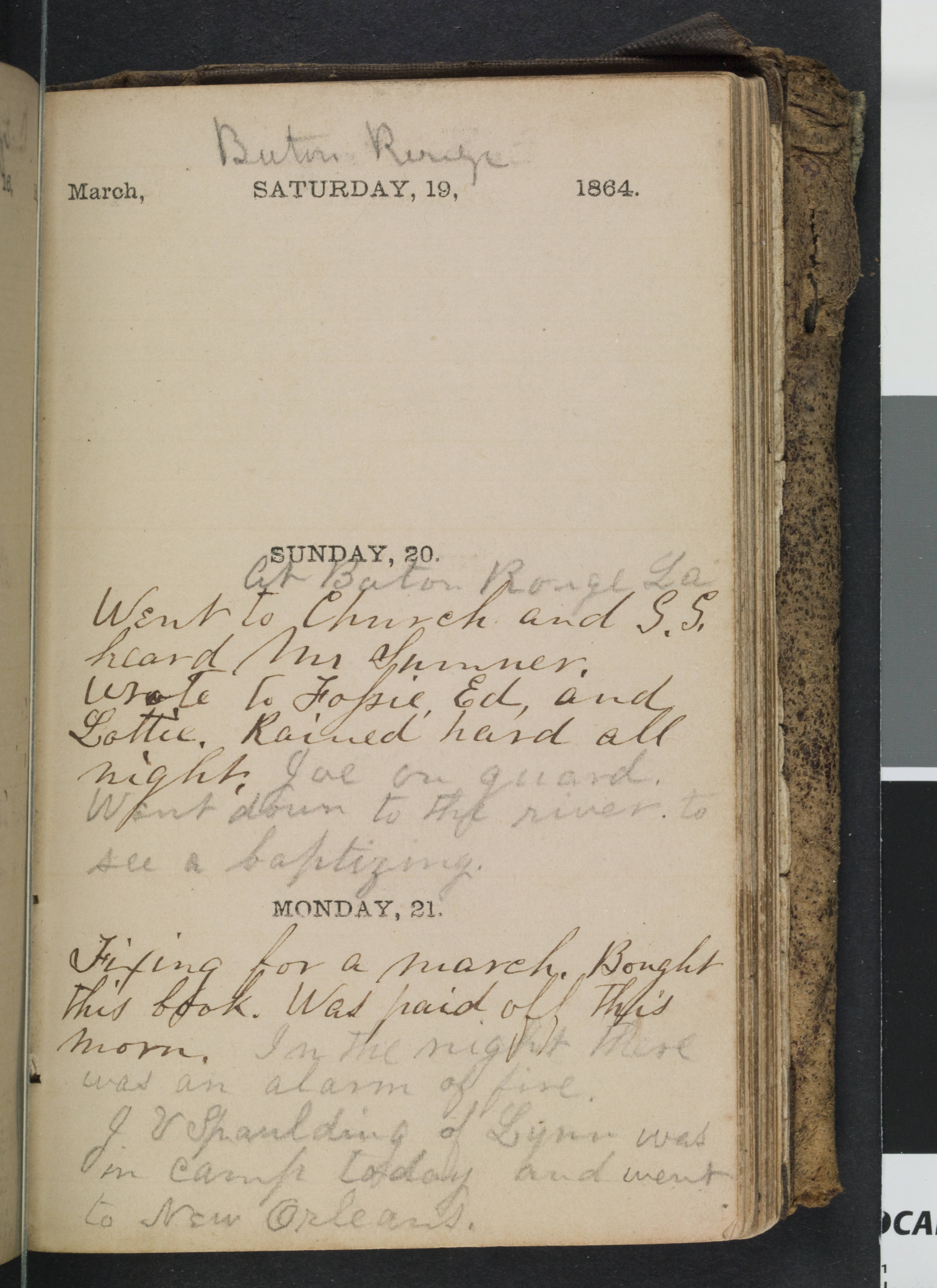 An opened diary displaying an entry for March 20 and 21 in 1864
