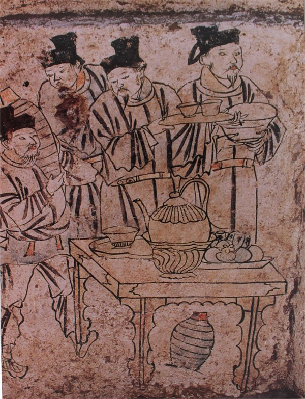 File preparing drinks mural from tomb in aohan liao for Dynasty mural works