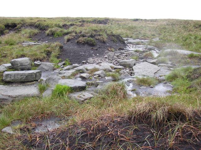 Rocks under the peat layer, Saddleworth - geograph.org.uk - 486273
