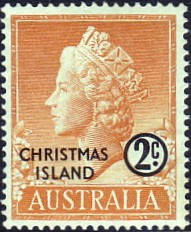 Postage stamp with portrait of Queen Elizabeth II, 1958 Stamp Christmas Island 1958 2c.jpg