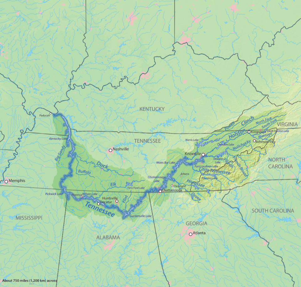 Tennessee River Wikipedia - Tennessee waterways map