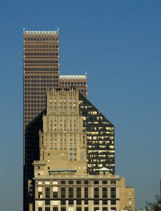 Three eras of buildings in Houston: JPMorgan Chase Building (1920s), Pennzoil Place (1970s), and Bank of America Center (1980s)