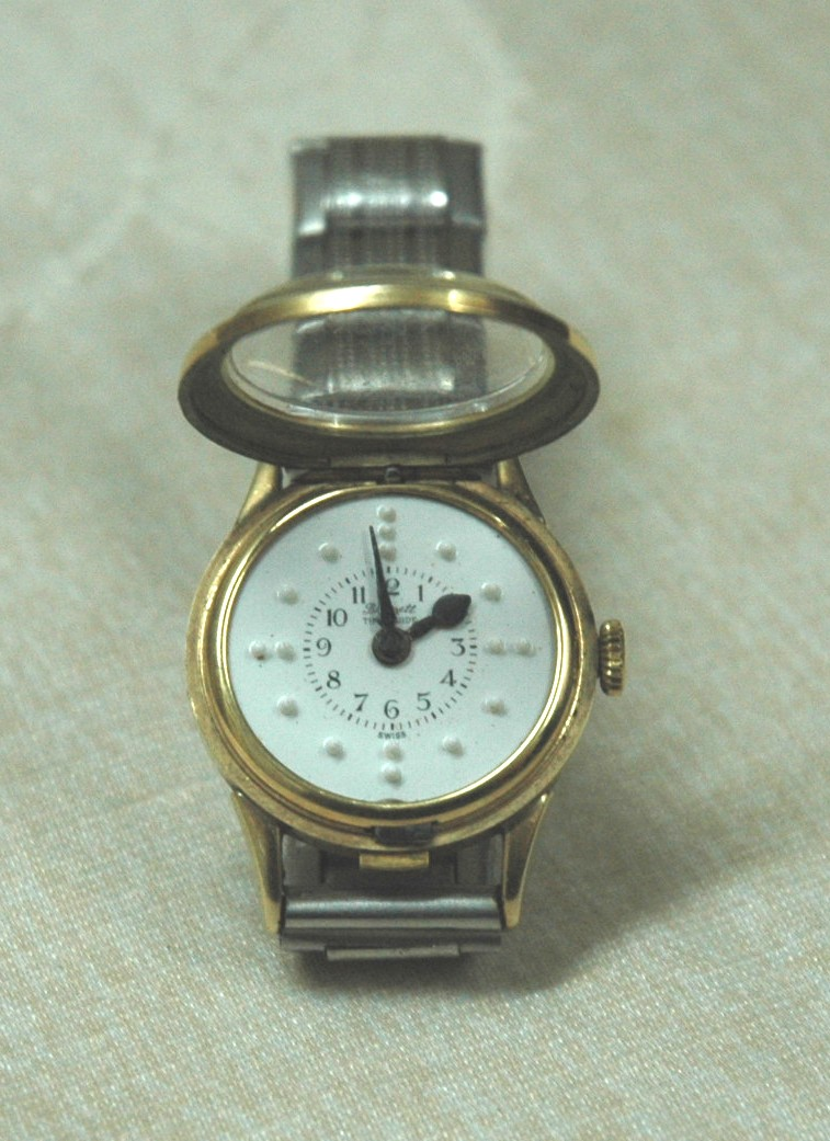 blinds watch chrome ladies braille watches for quartz band blind with expansion