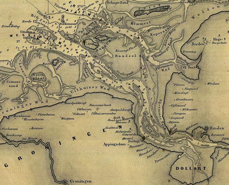 Seekarte der Eemsmündung von 1883 - Quelle: WikiCommons