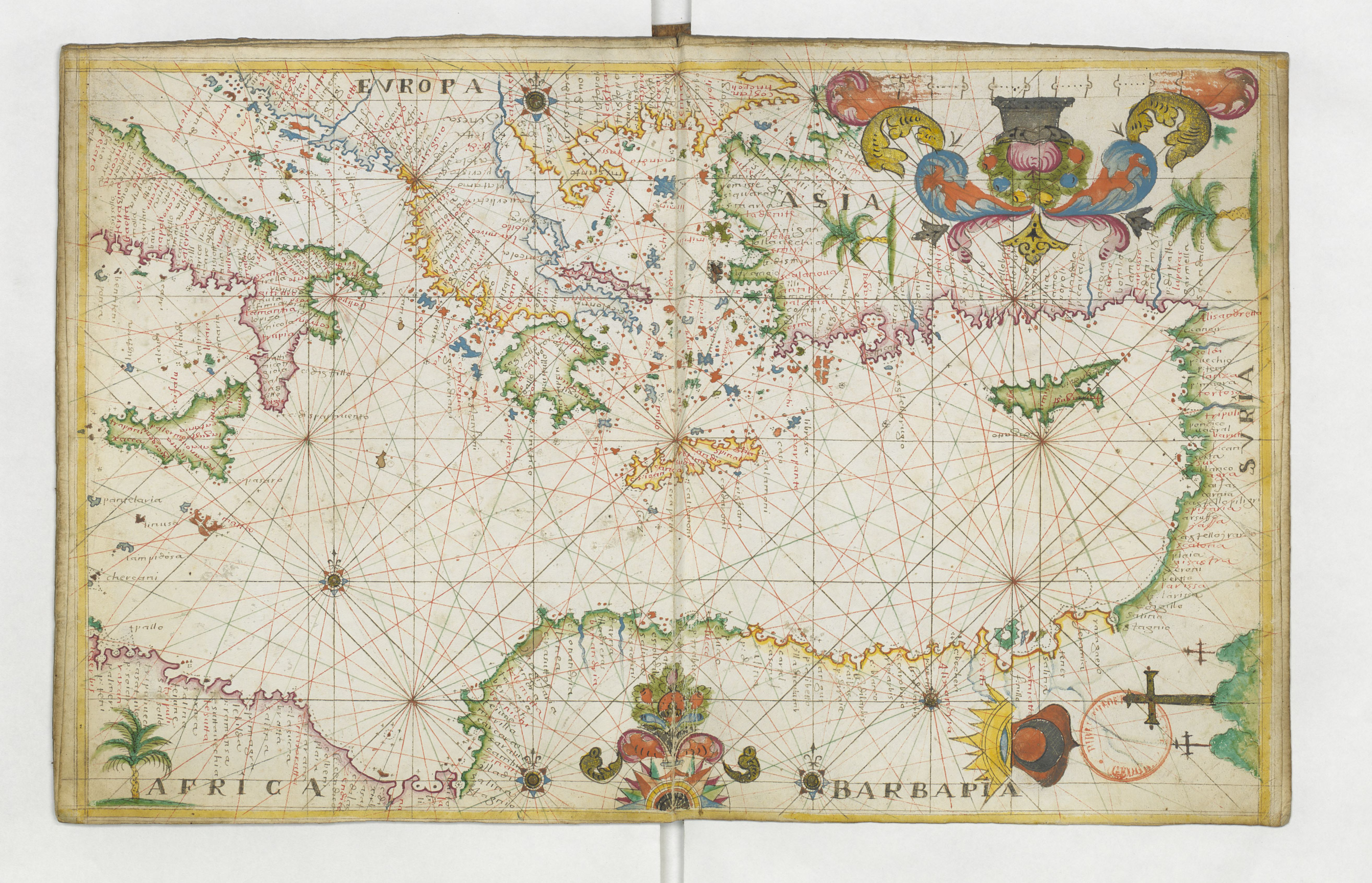 File 1662 Portolan Chart Of The Central And Eastern Mediterranean Sea By François Ollive Jpg Wikimedia Commons