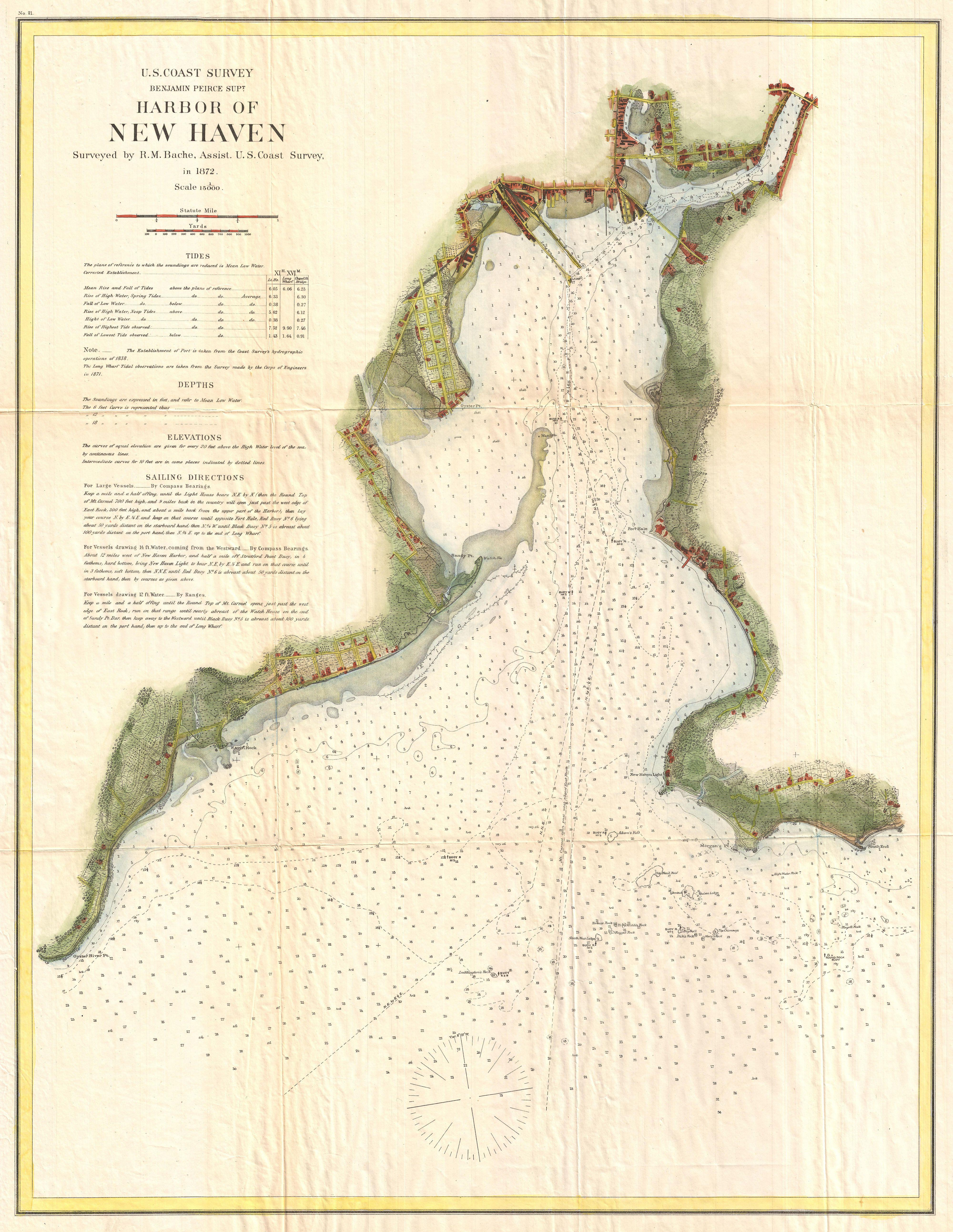 File:1872 U.S. Coast Survey Map of New Haven, Connecticut ...