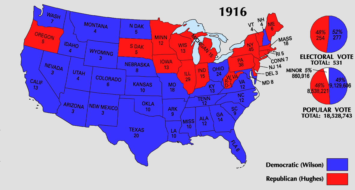 Map Of America Voting.File 1916 Electoral Map Png Wikimedia Commons