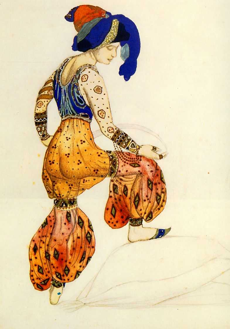 Ballets Russes: Leon Bakst, costume La Sultane for ballet Schéhérazade, 1910, unknown collection. Source: wikiart.org.