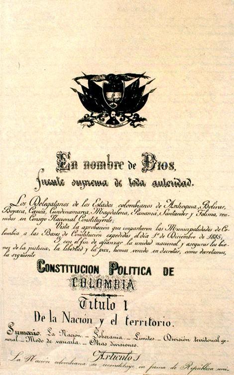 Constitución de Colombia de 1886 - Wikipedia, la enciclopedia libre