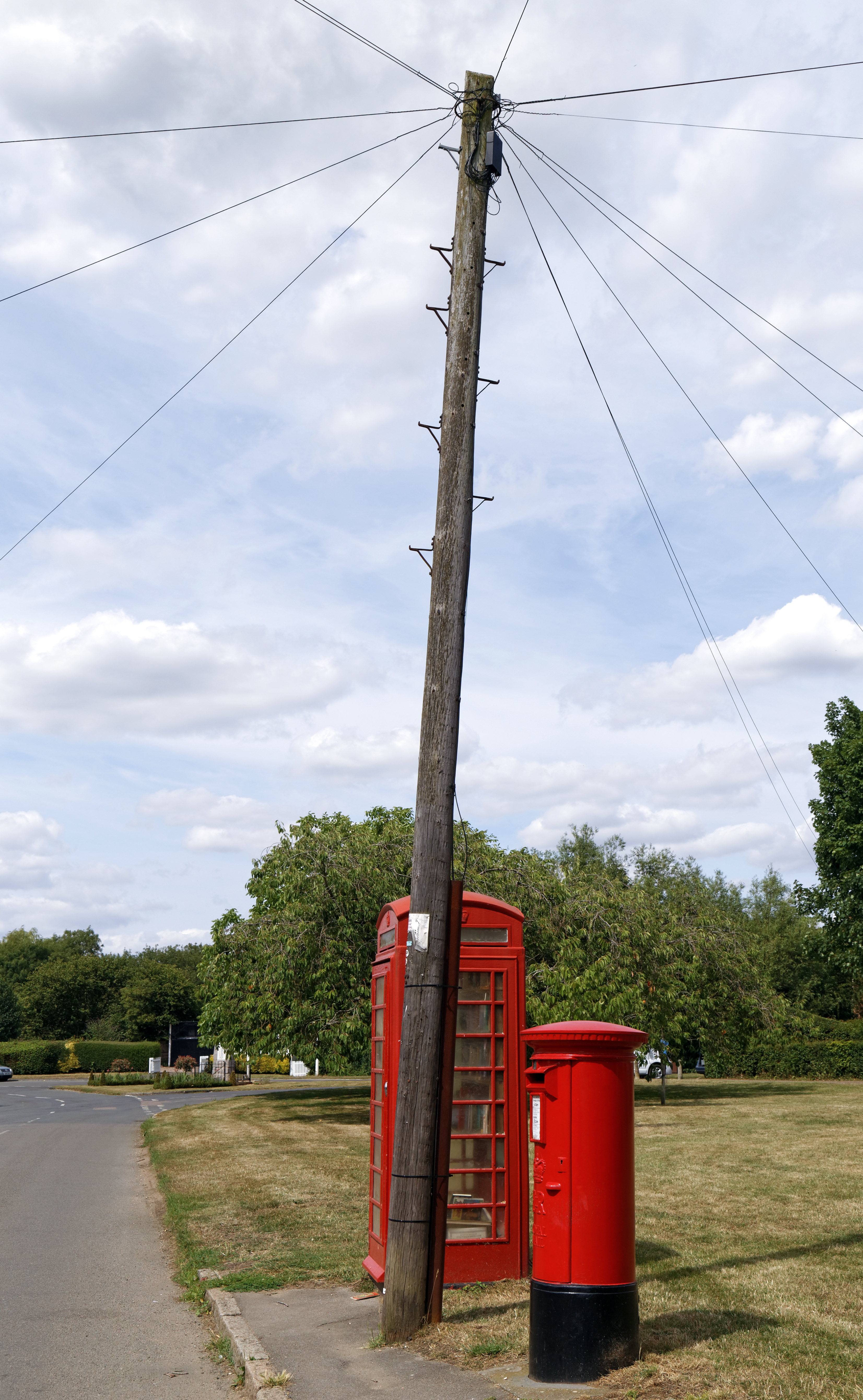 File:Crow St phone and post box with telephone pole Henham Essex
