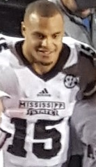 Dak Prescott in Mississippi State uniform during game in 2015