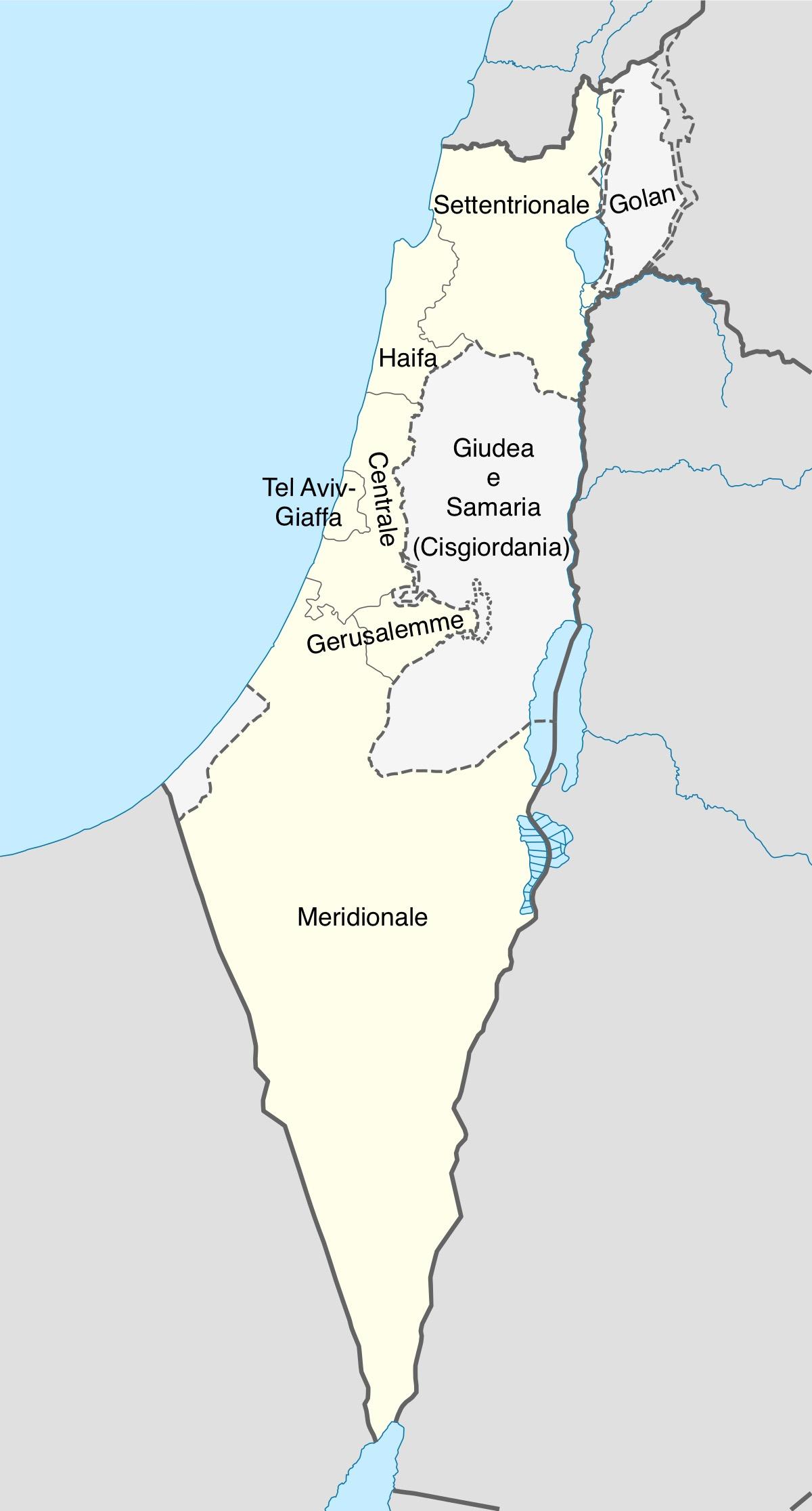 Cartina Stato Di Israele.Distretti Di Israele Wikipedia