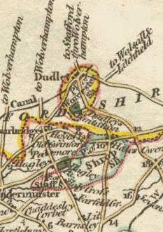 This (rather inaccurate) 1814 map shows Dudley in a detached part of Worcestershire surrounded by Staffordshire. Note the detached portion of Shropshire (the parish of Halesowen), just to the south-east and part of Staffordshire (Broome and Clent) to the south-west as well.