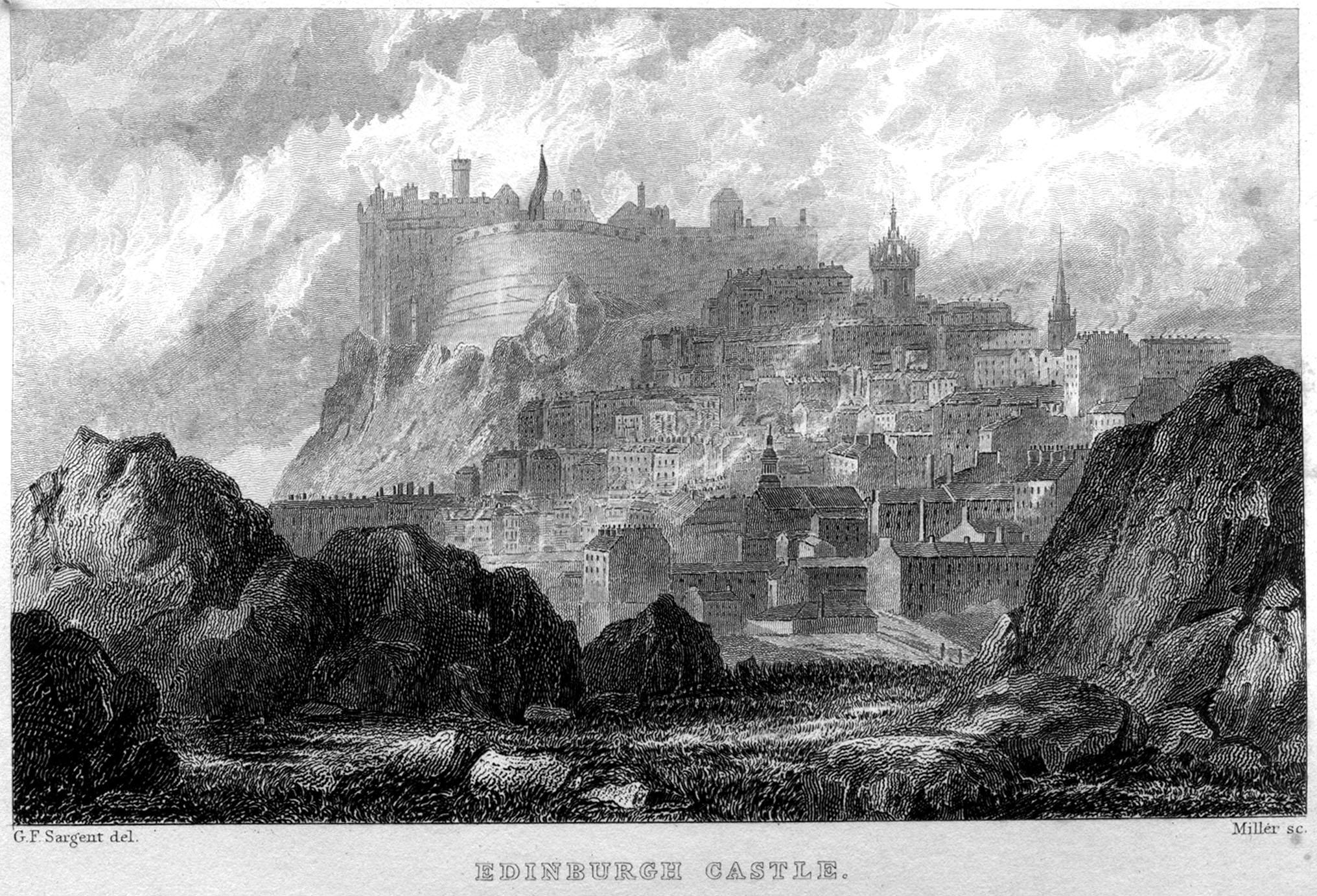 William Miler, d'après Sargent, Edinburgh Castle, 1832