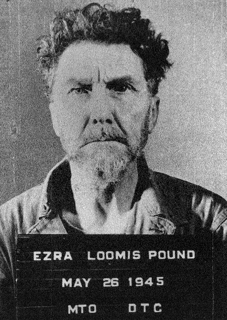 This mug shot of Ezra Pound was taken by the U.S. armed forces in Italy,  1945.