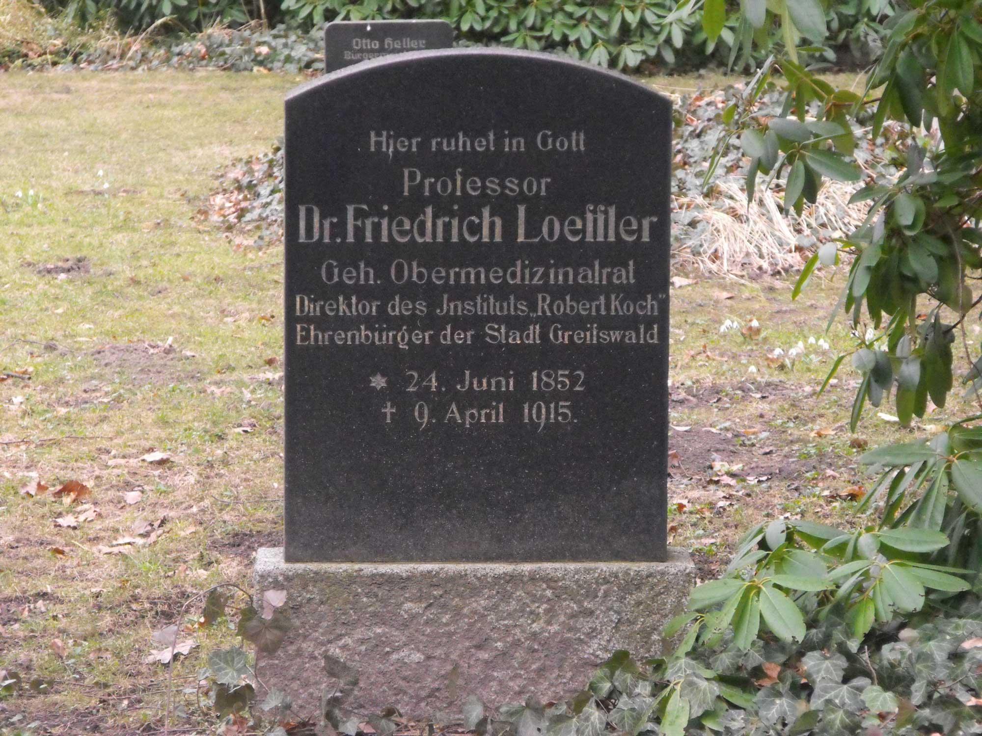 Grabmal Friedrich Löffler, Alter Friedhof Greifswald
