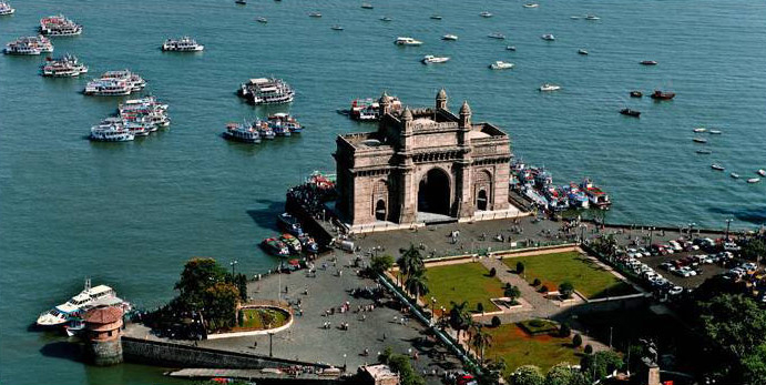 Aerial view of The Gateway of India
