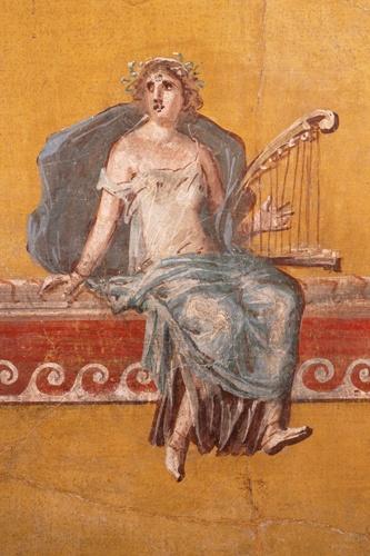 Romana que toca arpa. Música no Império Romano