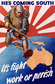 1942 Australian propaganda poster. Australia feared invasion by Imperial Japan following the Fall of Singapore. He's coming South.jpg