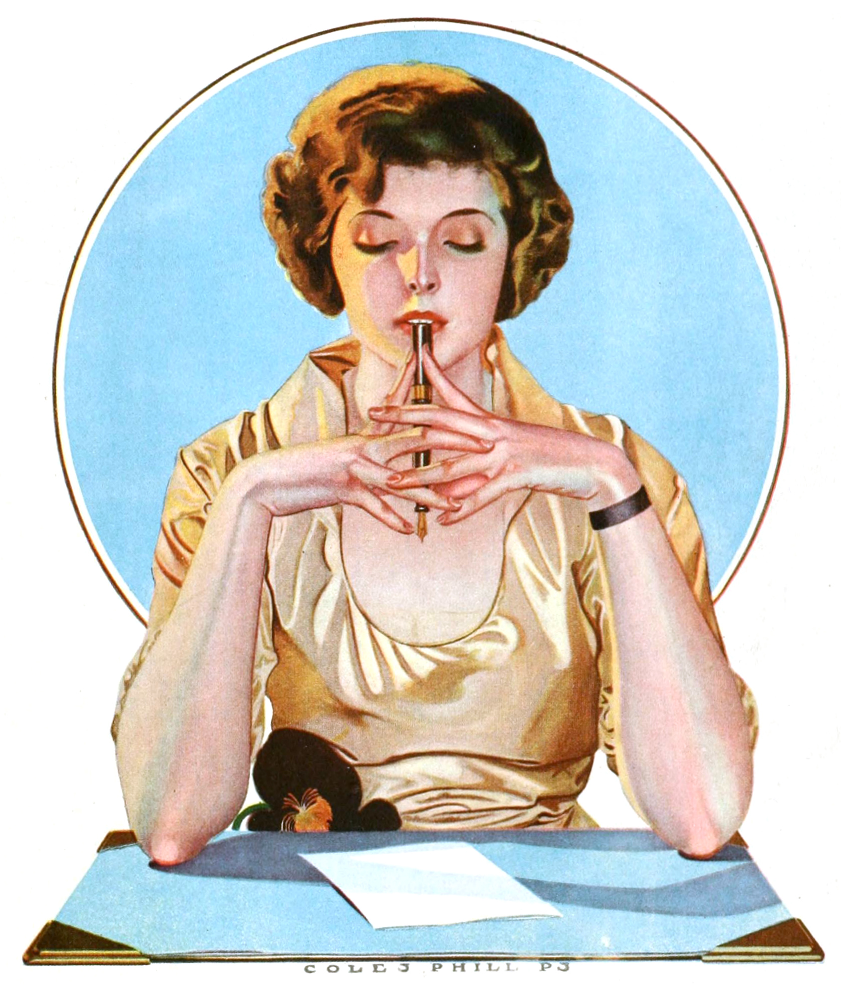 1920s advertisement of woman sitting with a sheet of paper