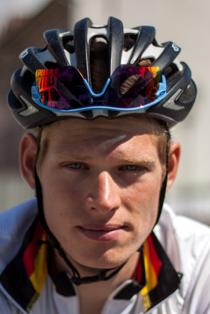 Jasha Sütterlin au départ de la 4eétape du Tour de l'Avenir 2013.