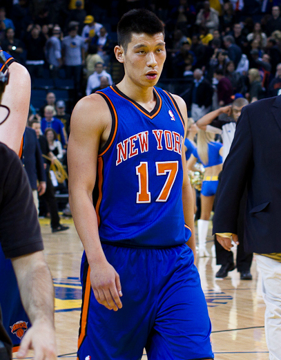 Jeremy Lin with the Knicks and reporters