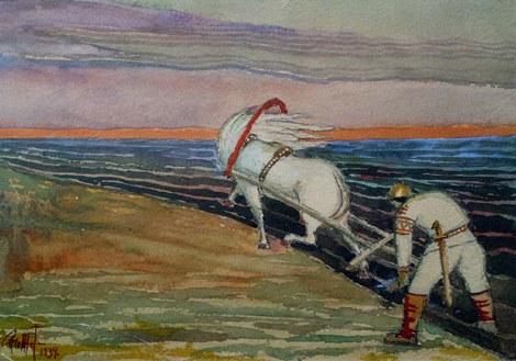 Иллюстративная акварель эстонского художника Александра Промета
