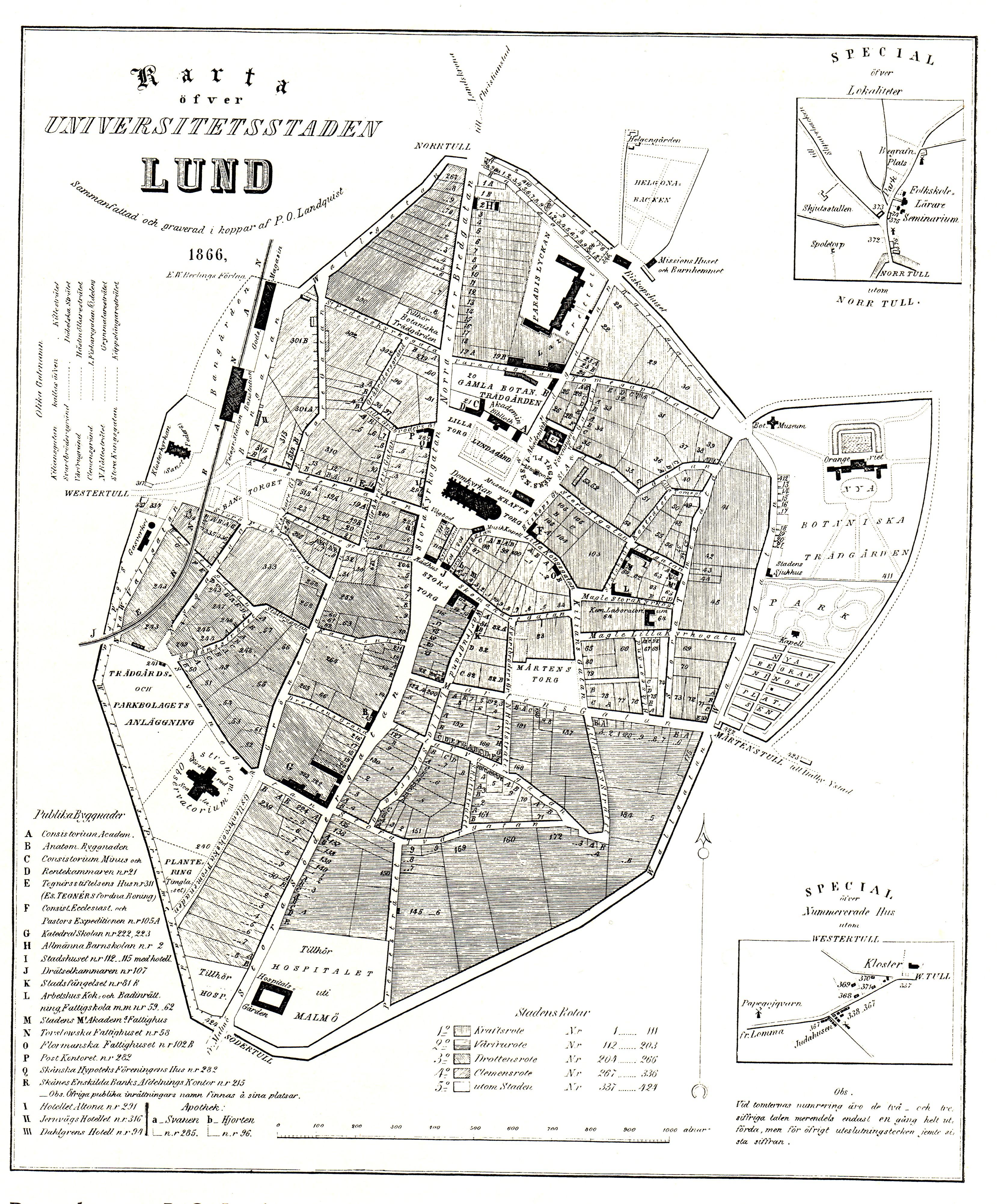 karta lund Fasciculus:Karta öfver universitetsstaden Lund 1866.   Vicipaedia karta lund