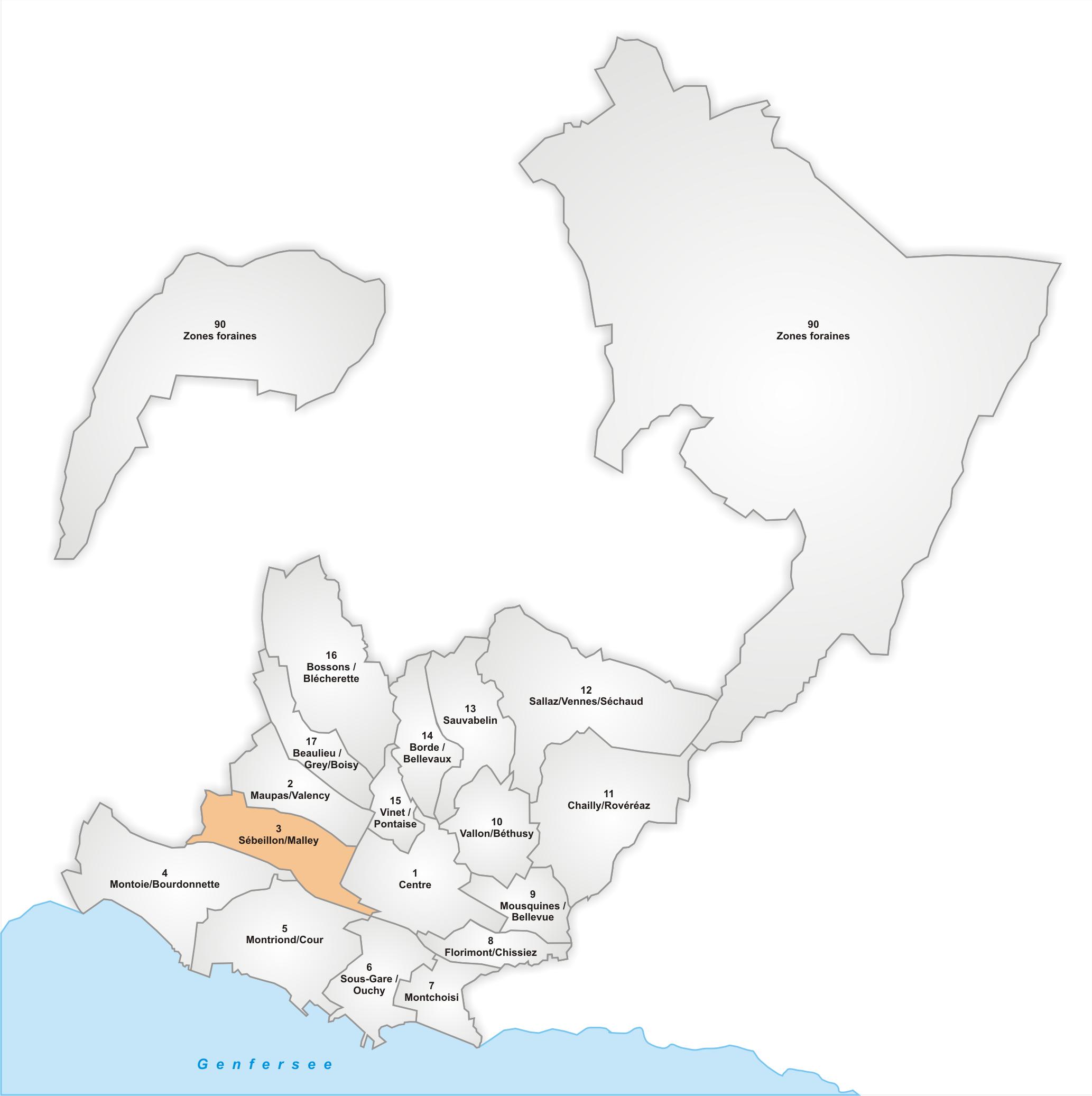 Lage des Stadtteils Sébeillon/Malley