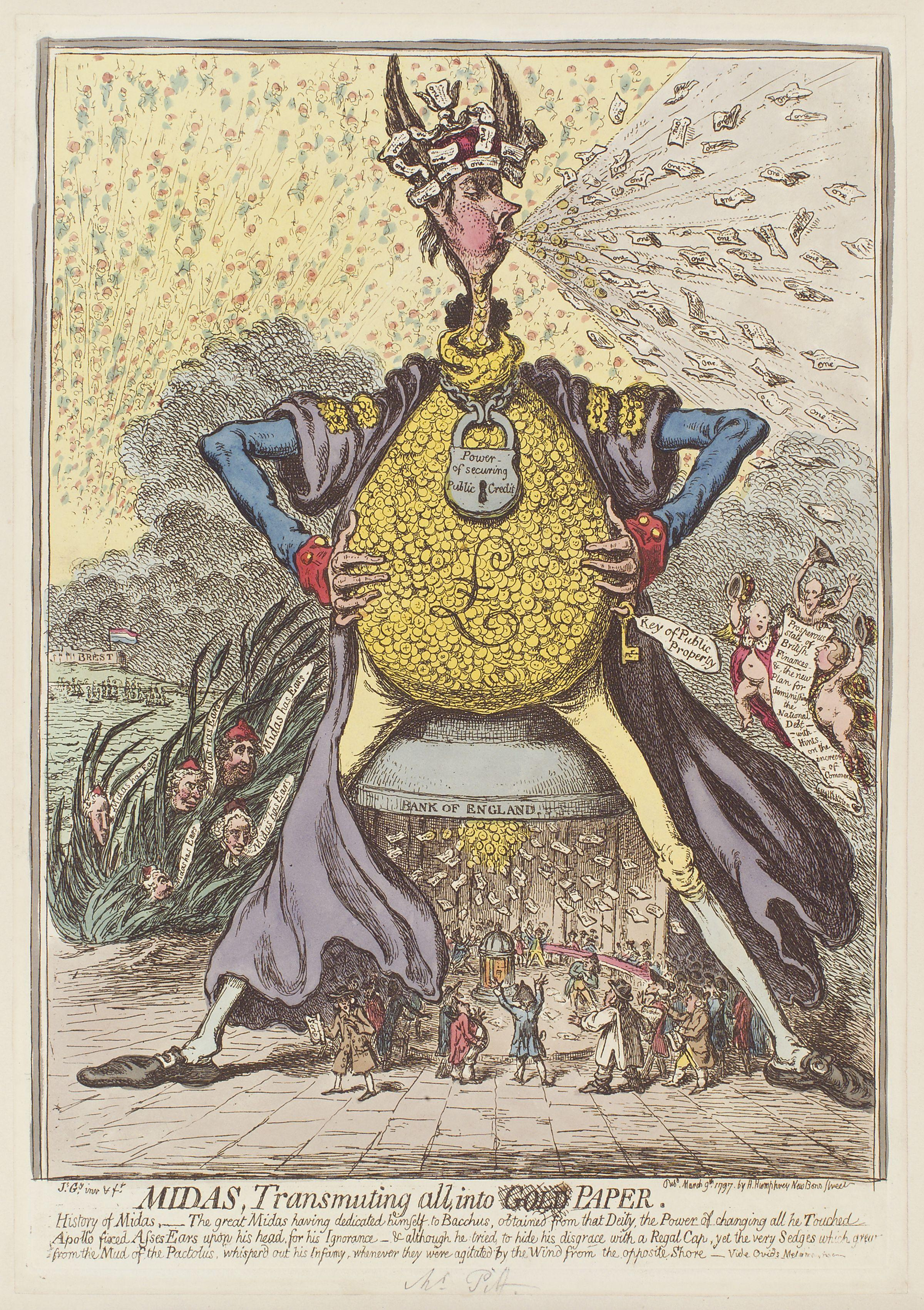 file midas  transmuting all  into paper by james gillray jpg