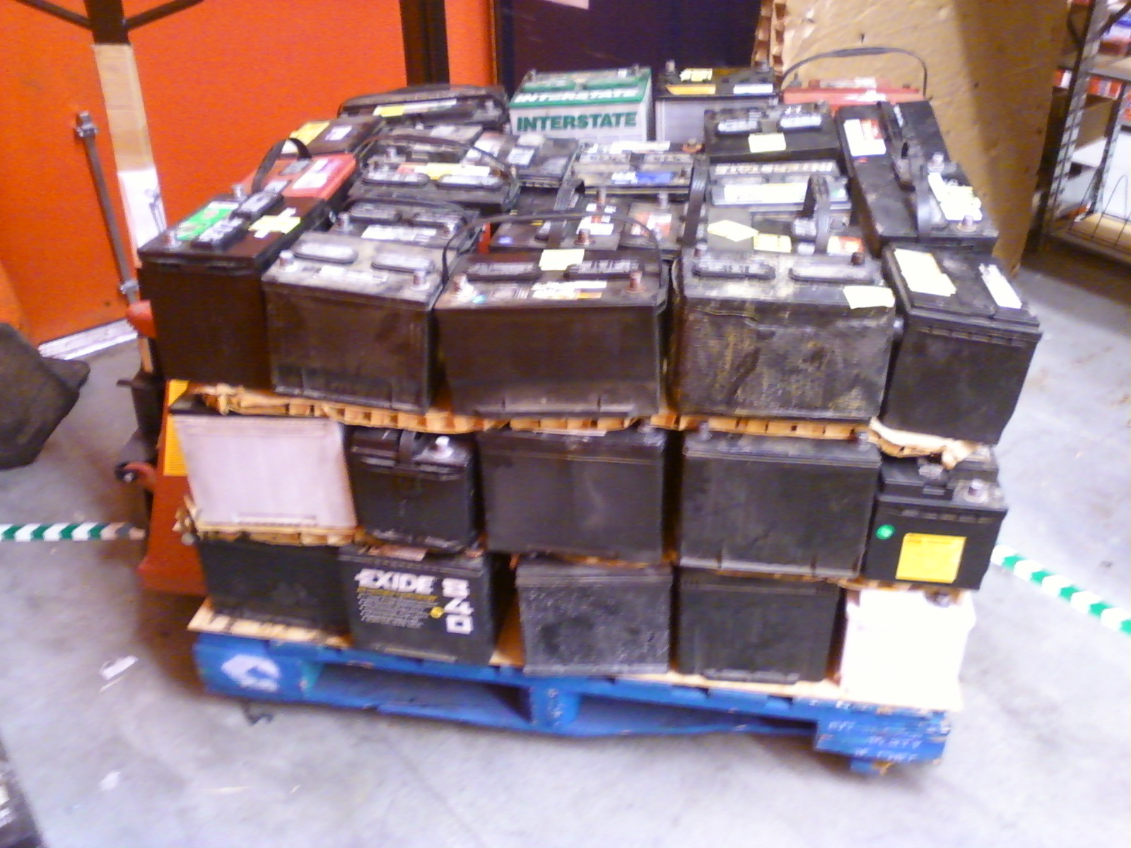 Used Car Batteries >> File:Pallet of scrap lead-acid batteries (left side).jpg - Wikimedia Commons