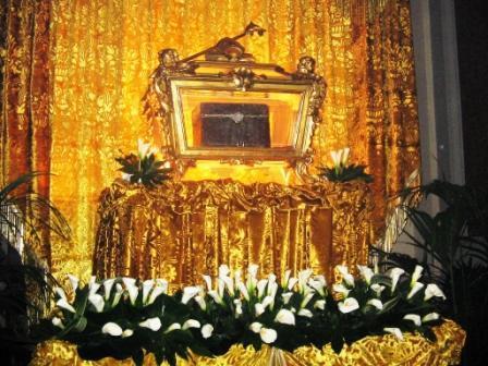Skrin med relikvier av St. Paulinus i domkirken i Nola