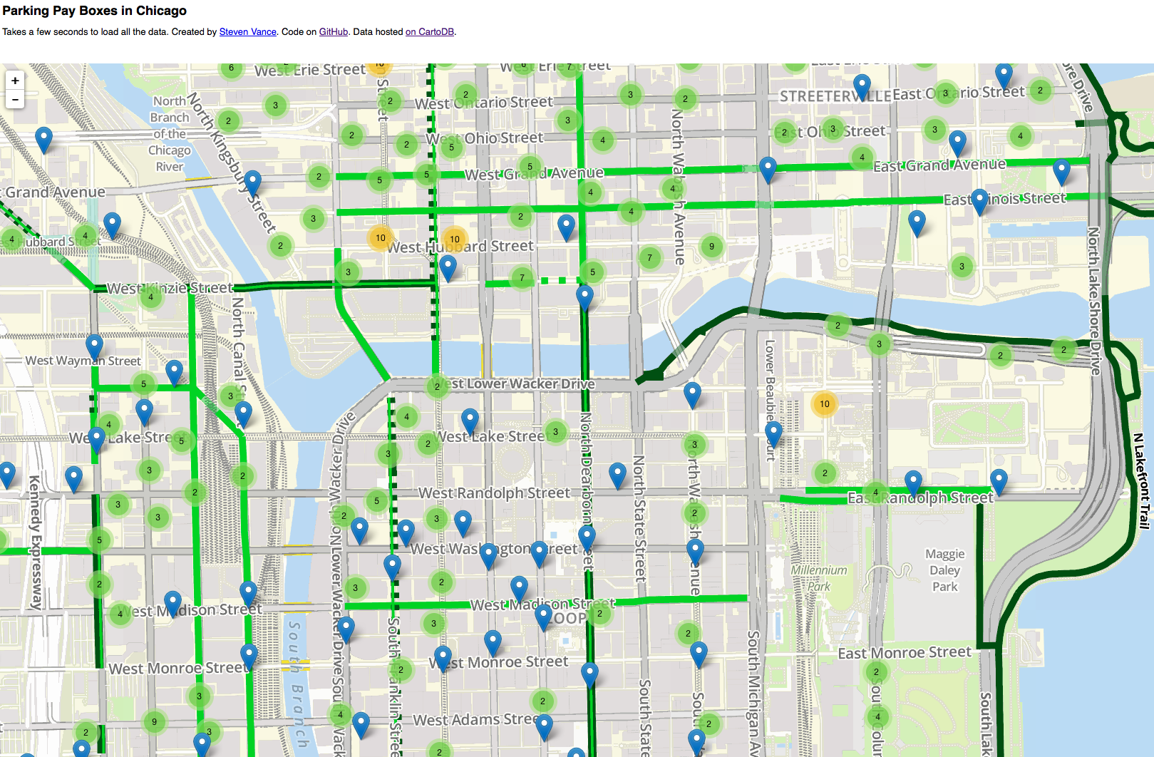 Chicago Downtown Parking Map on