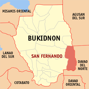 Map of Bukidnon showing the location of San Fernando