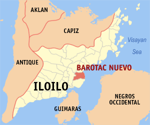 Map of Iloilo showing the location of Barotac Nuevo