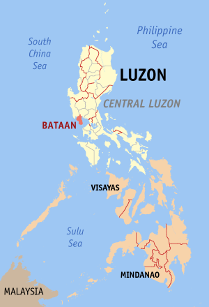 Мапа на Филипините со факти за Батаан highlighted