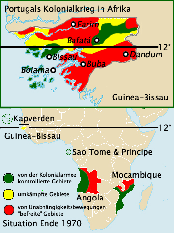 Portuguese-held (green), disputed (yellow) and rebel-held areas (red) in Portuguese-Guinea and other colonies in 1970, before the Portuguese military operations known as Gordian Knot Operation (Mozambique), Operation Green Sea (Guinea) and Frente Leste[36] (Angola).