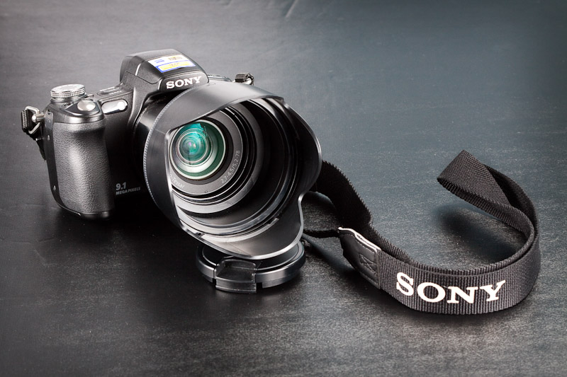 Sony DSC-H50 front with lens hood